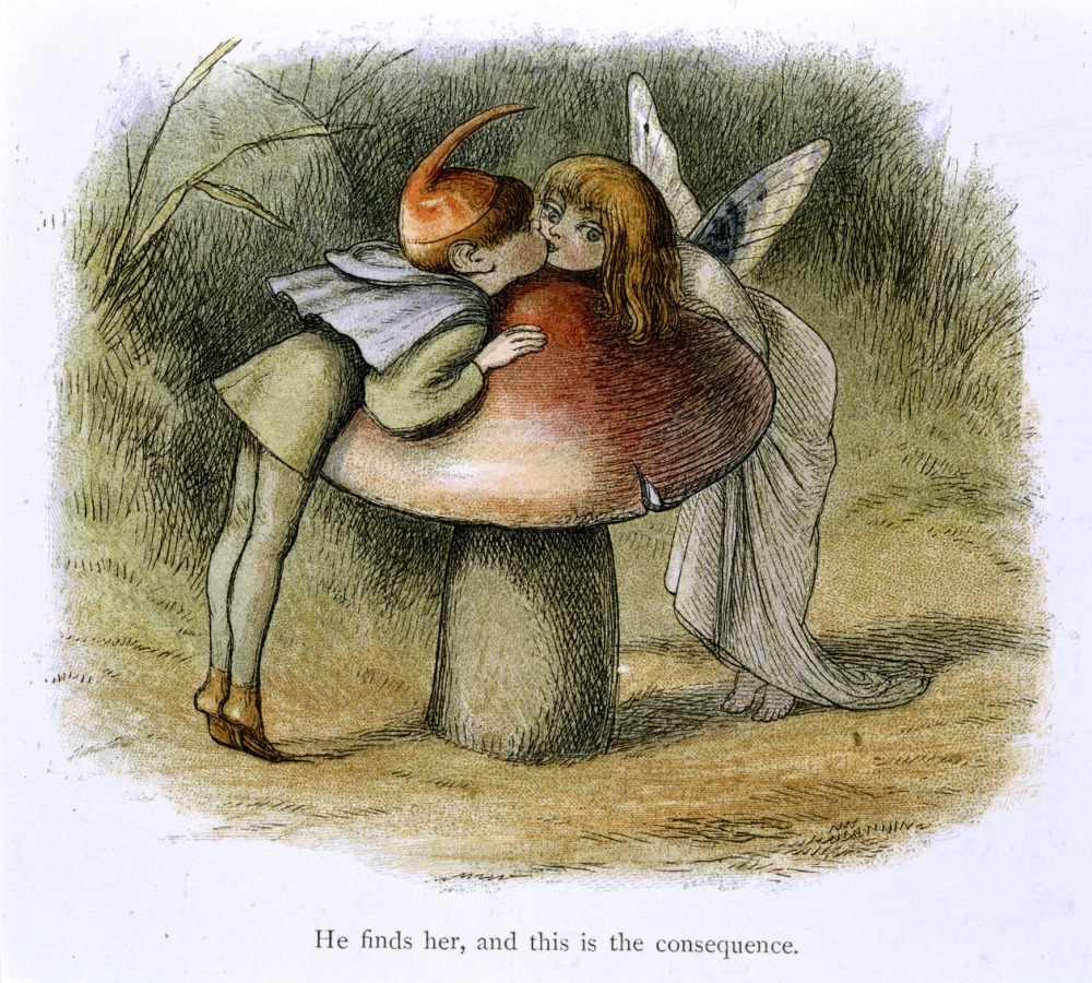 In Fairy Land A series of pictures from the elf-world by Richard Doyle With a poem by W Allingham - caption 'An elf and a fairy kissing'